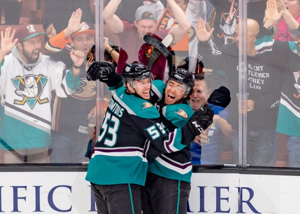 Kiefer Sherwood and Max Comtois Celebrate Anaheim Ducks Goal